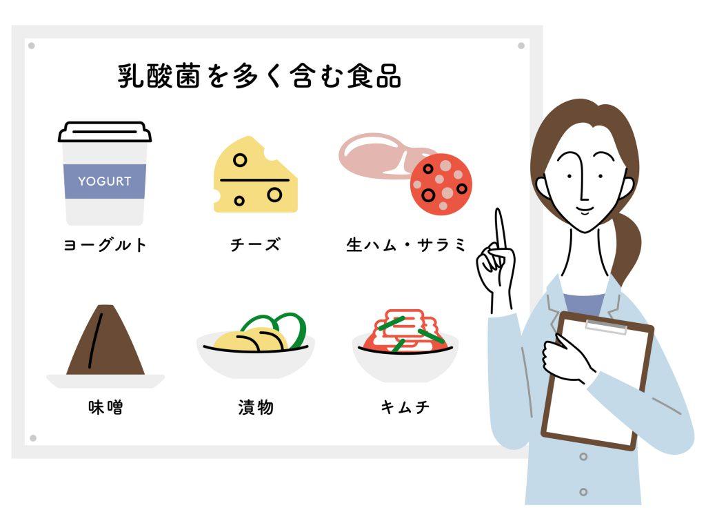 乳酸菌を多く含む食品のイラスト